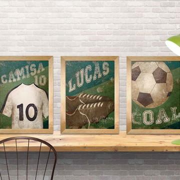 trio de quadros futebol para meninos