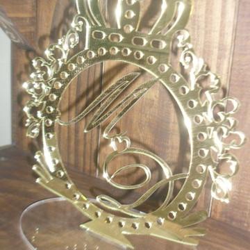 Enfeite bolo casal monograma dourado m15