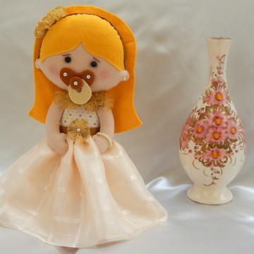 Princesa Baby Loira - Boneca em Feltro