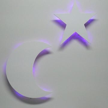 Jogo lua e estrela com led luminaria