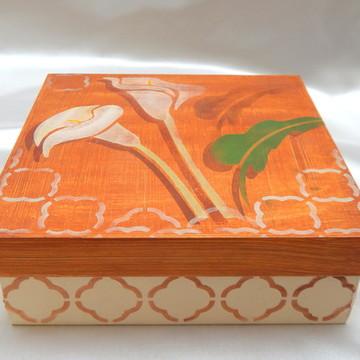 Caixa MDF Pintada à Mão - Copo-de-Leite