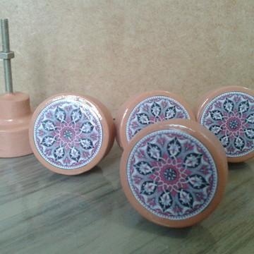 Puxador estilo Porcelana Mandala ocre