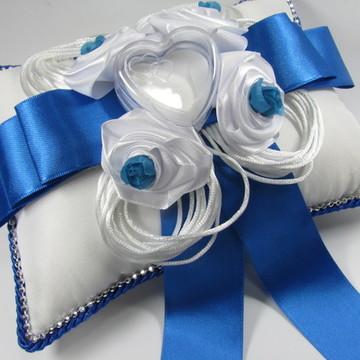 Almofada Porta Alianças Azul Royal