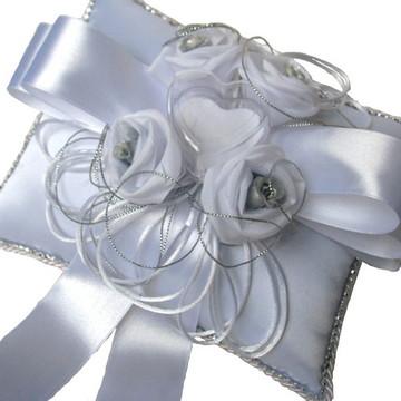 Almofada Porta Alianças Casamento Prata