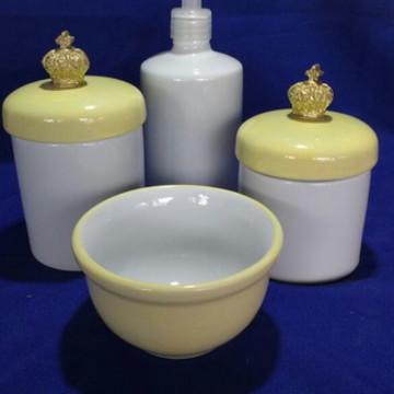 Kit Higiene Porcelana Amarelo Coroa