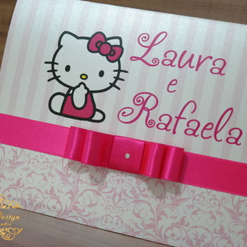 Convite Infantil Hello Kitty Papel Brilhante