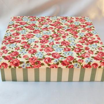 Caixa de MDF em Tecido Floral