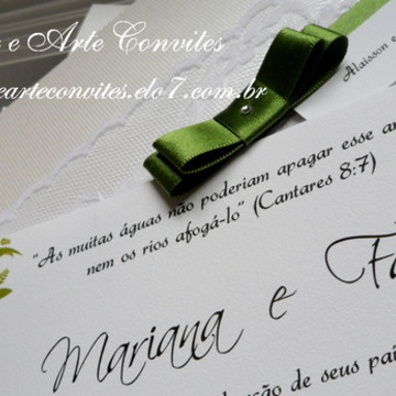 Convite de Casamento Rendado Verde com Arabescos