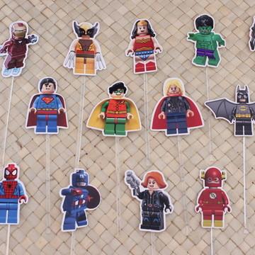 Kit - Toppers para doces - lego - heróis