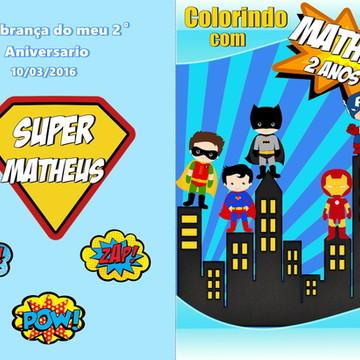 Capa para livro de colorir super herois