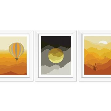 Trio de quadros Paisagem Montanhas