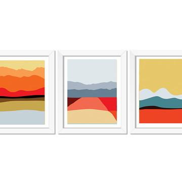 Trio de quadros Paisagem abstrata