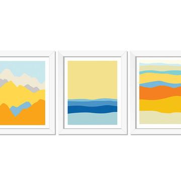 Trio de quadros Paisagens minimalistas