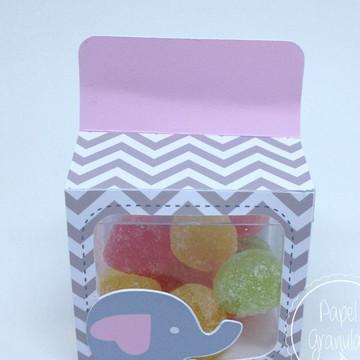 Porta caixa acrílica elefantinho rosa
