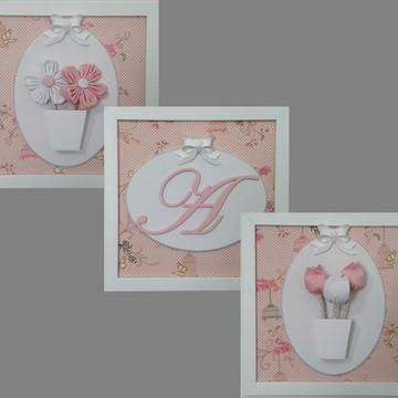 Trio de quadros decorativos para menina