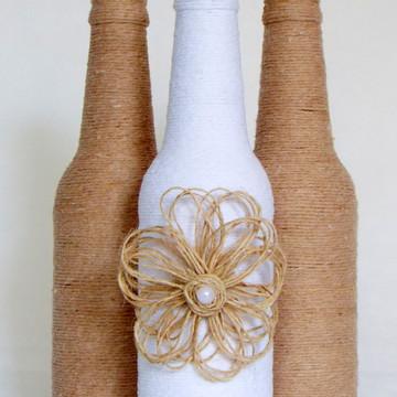 Garrafa decorada - Kit Barbante Flor c/3