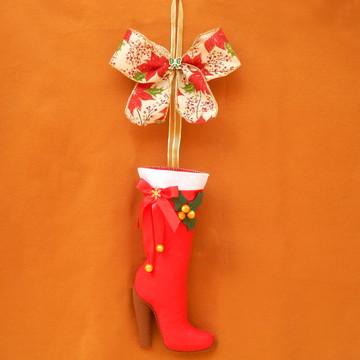 Bota de Natal em Feltro - Dourada