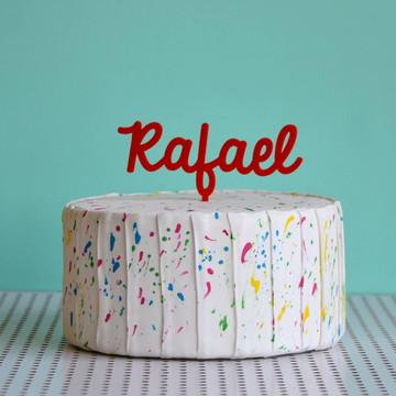 Topo de bolo nome personalizado