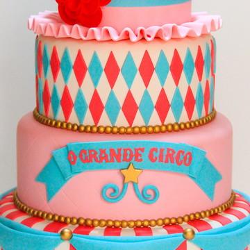 Bolo Circo Rosa e Tiffany-aluguel