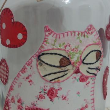 Pote patchwork gato tecido