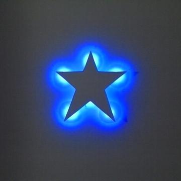Luminária estrela com luz led azul