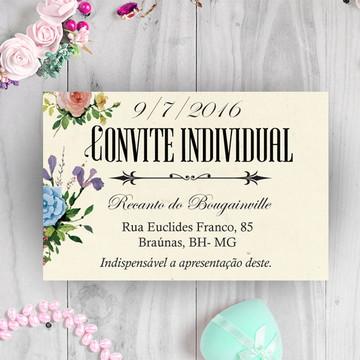 Convite de Casamento individual Floral