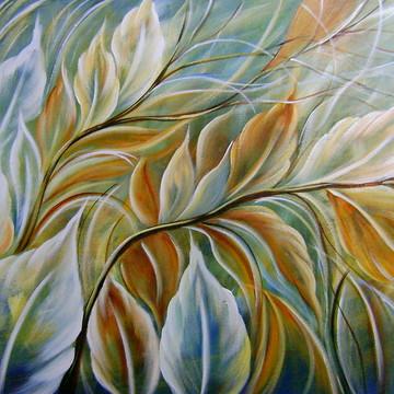quadro decorativo pintado a mão 60x100 FOLHAS COD 313