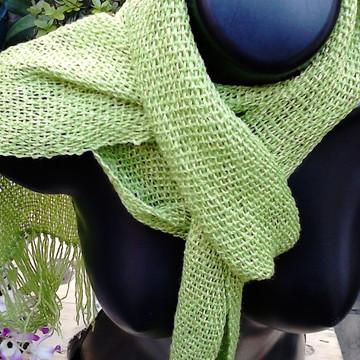 Gravatinha cachecol tear verde cítrico