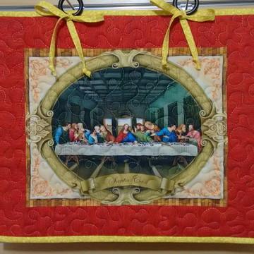 Painel Patchwork de Natal Santa Ceia