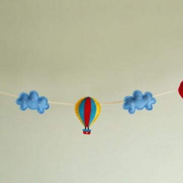 Varal BALÃO e NUVEM Azul Feltro