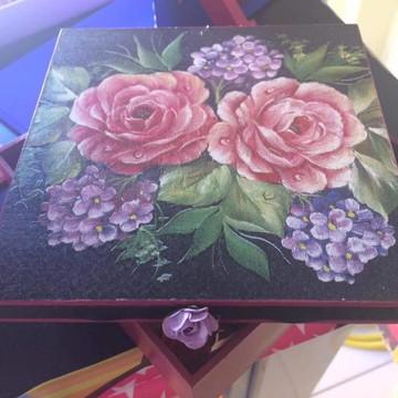 Caixa MDF Decoupagem com Sabonetes