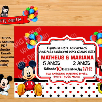 Convite Digital MINNIE e Mickey