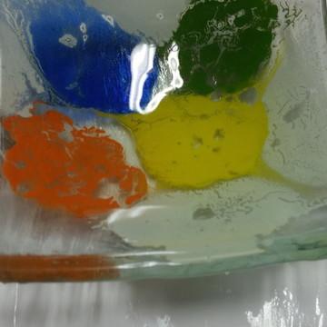 Bowl colorida em vidro fusing