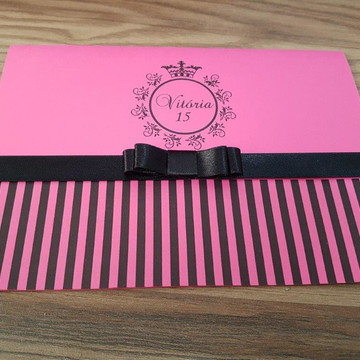 Convite de debutante rosa pink preto