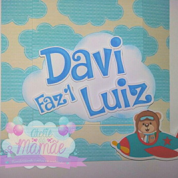 Convite Deslizante - Tema urso aviador