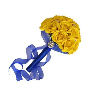 Buquê de Noiva Amarelo e Azul Royal