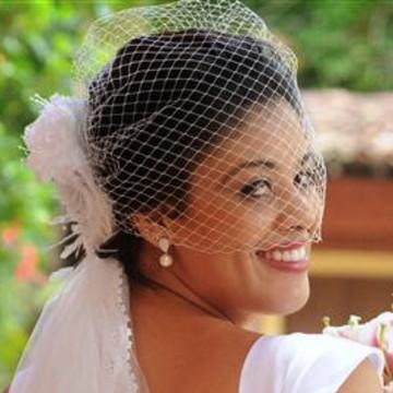 Voilette Fascinator Flor Renda Pedrarias