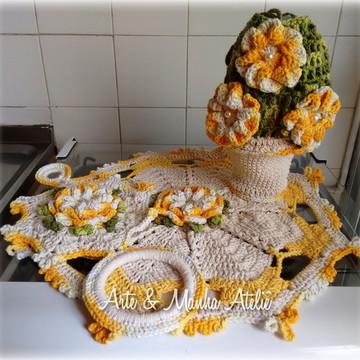Kit de cozinha Amarelo em crochê