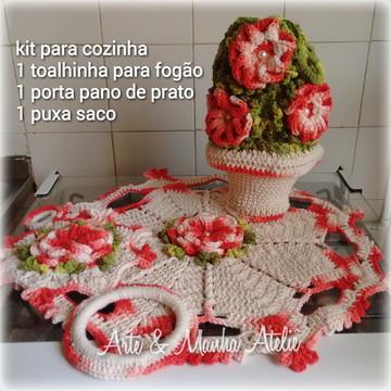 Kit de cozinha Vermelho em crochê