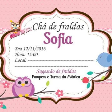 convite corujinha chá de fraldas