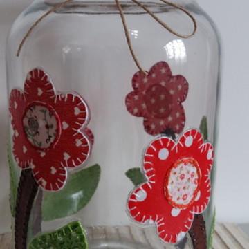 Pote patchwork flores tecido