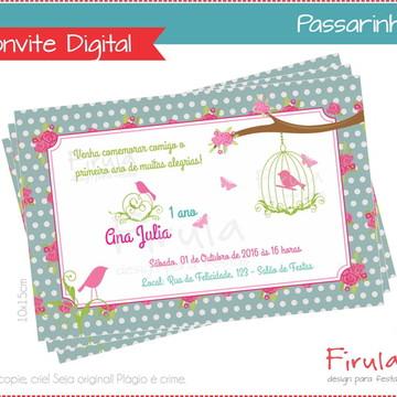 Convite Digital Passarinho Azul