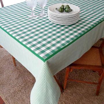 Toalha de Mesa Retangular Xadrez Verde