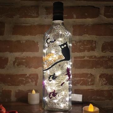 Luminária de garrafa Happy Halloween