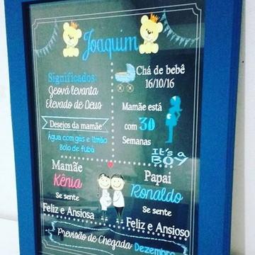 Chalkboard com moldura e vidro Tam A4