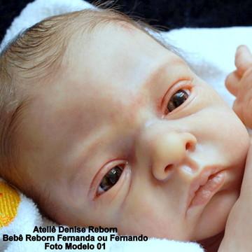 Boneca Bebê Reborn Fernanda ou Fernando Kit Elise 3 meses