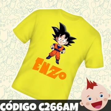Camiseta Infantil Personalizado Goku Dragon Ball C266AM