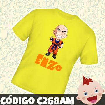 Camiseta Infantil Personalizada Kuririn Dragon Ball C268AM