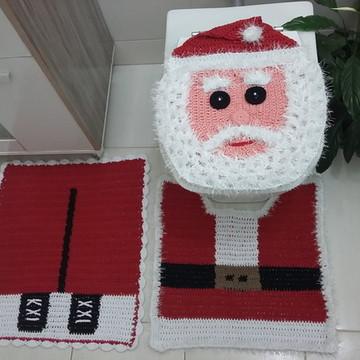 jogo de banheiro de crochê de Natal