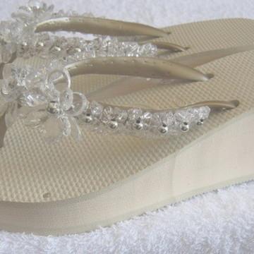 893d38086b Havaianas High Fashion Branca com Bordado para Casamento
